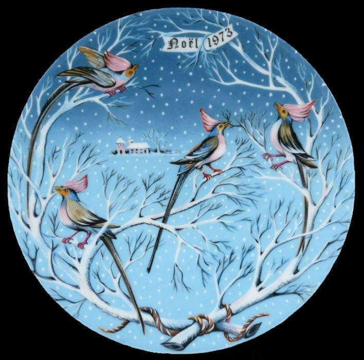 4-Декоративная коллекционная тарелка - Двенадцать Дней Рождества - Четыре птицы счастья - Птицы коли - Франция - Haviland Limoges - Р Хитроу.jpg
