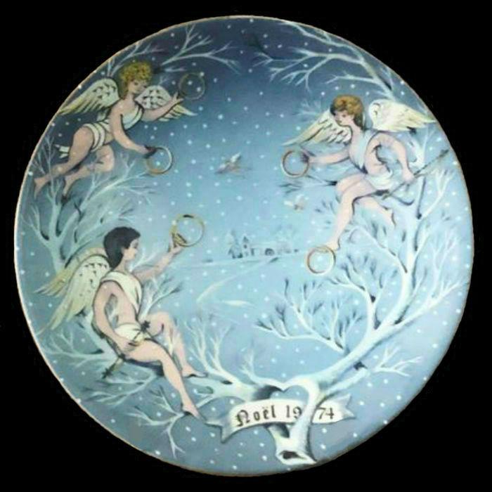 5-Декоративная коллекционная тарелка - Двенадцать Дней Рождества - Пять золотых колец - Франция - Haviland Limoges - Р Хитроу - 1974.jpg