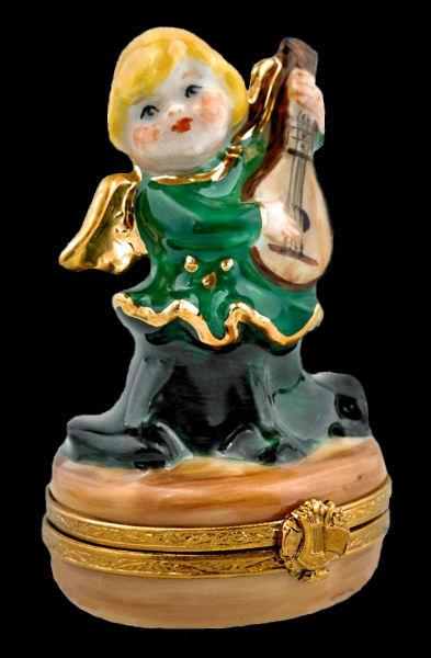 green angel with ukulele - limoges - box.jpg
