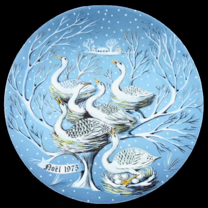 6-Декоративная коллекционная тарелка - Двенадцать Дней Рождества - Шесть гусей - Франция - Haviland Limoges - Р Хитроу.jpg