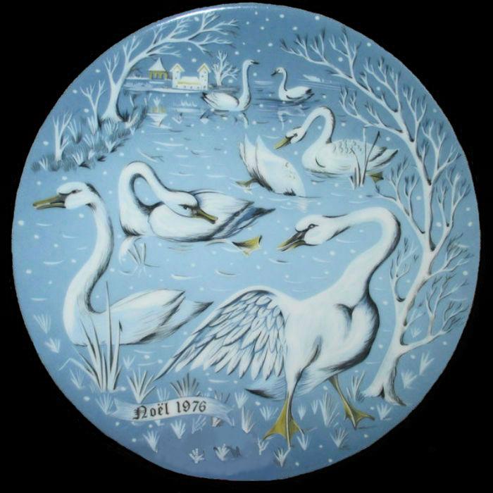 7-Декоративная коллекционная тарелка - Двенадцать Дней Рождества - Семь плавающих лебедей - Франция - Haviland Limoges - Р Хитроу - 1976.jpg