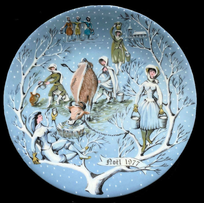 8-Декоративная коллекционная тарелка - Двенадцать Дней Рождества - Восемь молочниц - Франция - Haviland Limoges - Р Хитроу.jpg