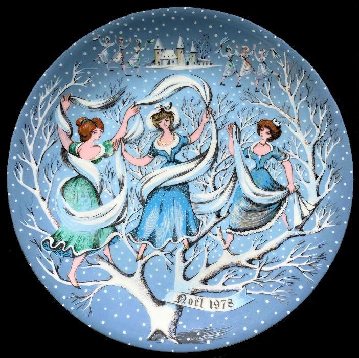 9-Декоративная коллекционная тарелка - Двенадцать Дней Рождества - Девять танцующих леди - Франция - Haviland Limoges - Р Хитроу.jpg