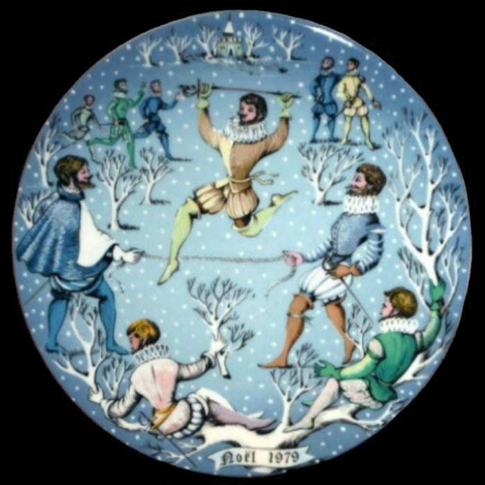 10-Декоративная коллекционная тарелка Двенадцать Дней Рождества - Десять прыгающих лордов - Франция - Haviland Limoges - Р Хитроу - 1979.jpg
