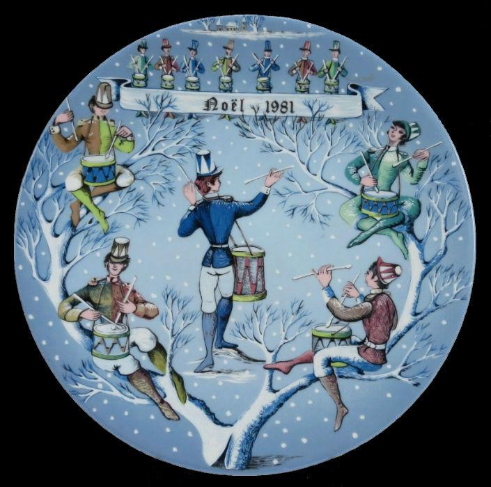 12-Декоративная коллекционная тарелка - Двенадцать Дней Рождества - Двенадцать Барабанщиков - Барабанят - Франция - Haviland Limoges - Р Хитроу - 198…