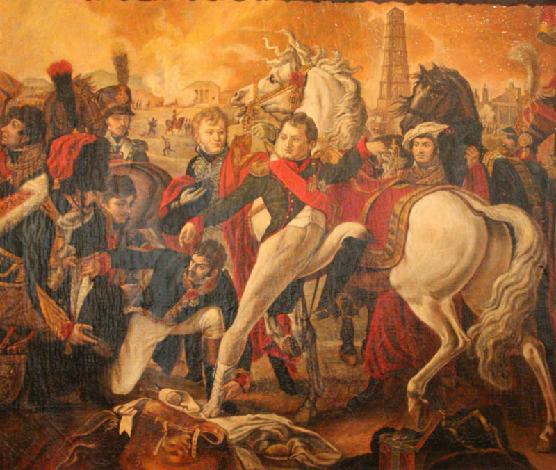 Неизвестный художник с оригинала Клода Готеро - Ранение Наполеона в битве при Регенсбурге - середина XIX века.jpg