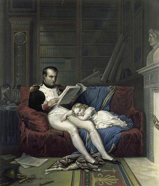 Король Римский спит на коленях отца в его рабочем кабинете в Тюильри - Раскрашенная литография - Мальмезон.jpg
