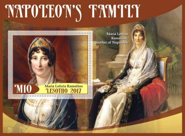 Лесото - Сувенирный лист - Семья Наполеона - Летиция Бонапарт (мать Наполеона) - 2017.jpg