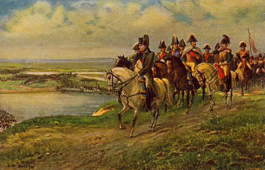 И М Львов - Открытка «Воспоминание 1812 года Переправа через реку Неман».jpg