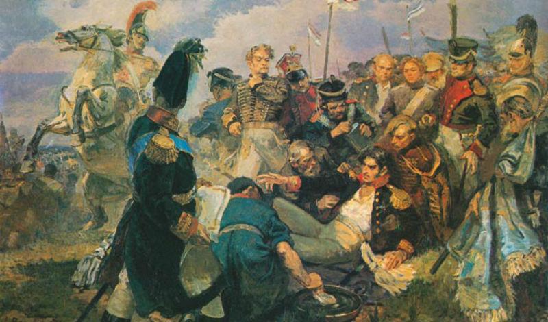 А Вепхвадзе - Смертельное ранение генерала Багратиона на Бородинском поле - 1948.jpg