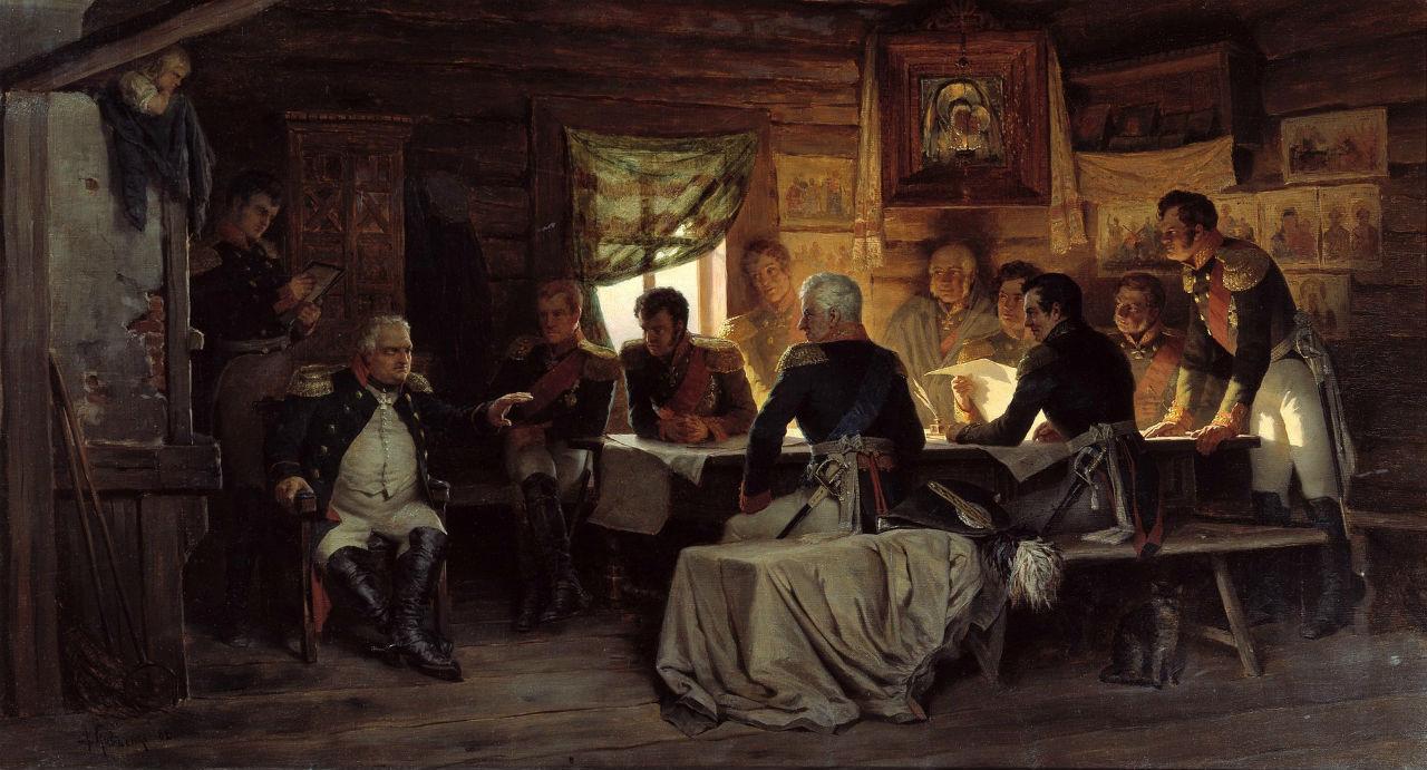 Алексей Кившенко - Военный совет в Филях - 1880.jpg