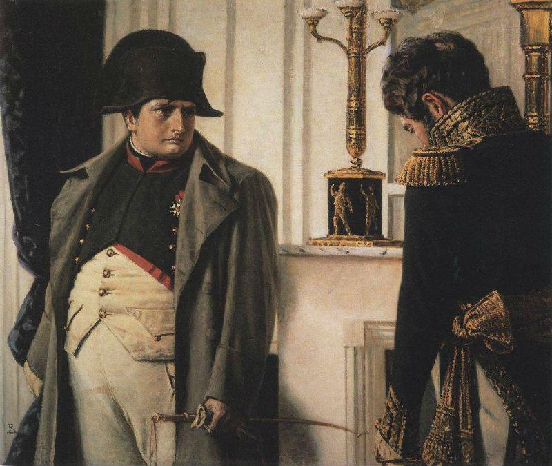Наполеон и маршал Лористон - мир во что бы то ни стало - Верещагин ошибся - Лористон стал маршалом Франции значительно позднее 1812 года.jpg