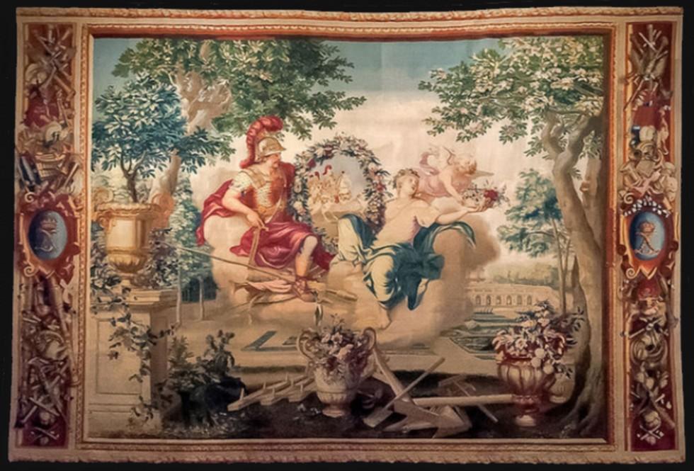Гобелен из серии Сезоны - Весна (Марс и Венера) - Франция - Себастьян Леклерк по произведению Шарля Лебрена - 1679.jpg