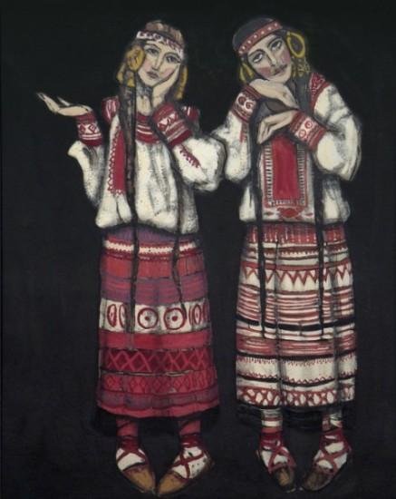 Николай Рерих - Две девушки - Эскиз костюмов - 1930 - Частное собрание - США.jpg