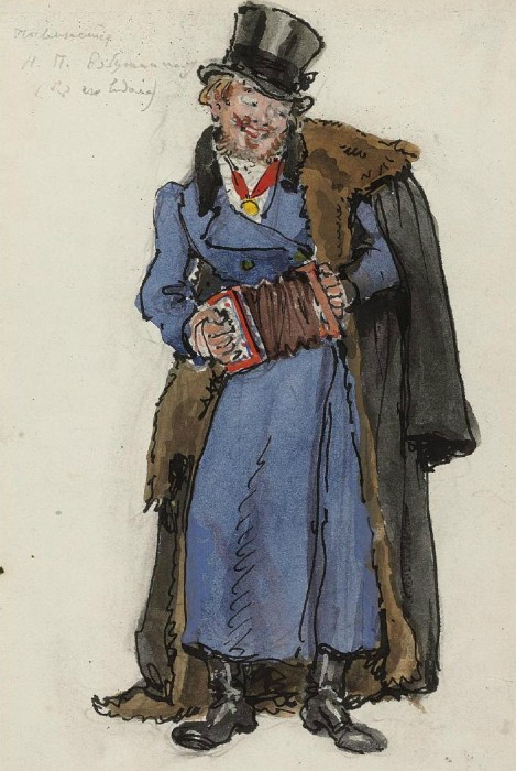 Alexandre Benois - A costume designs for Petrushka - A man with a concertina.JPG