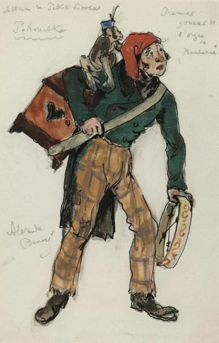 Alexandre Benois - Costume designs for Petrushka- The first barrel-organ player.JPG