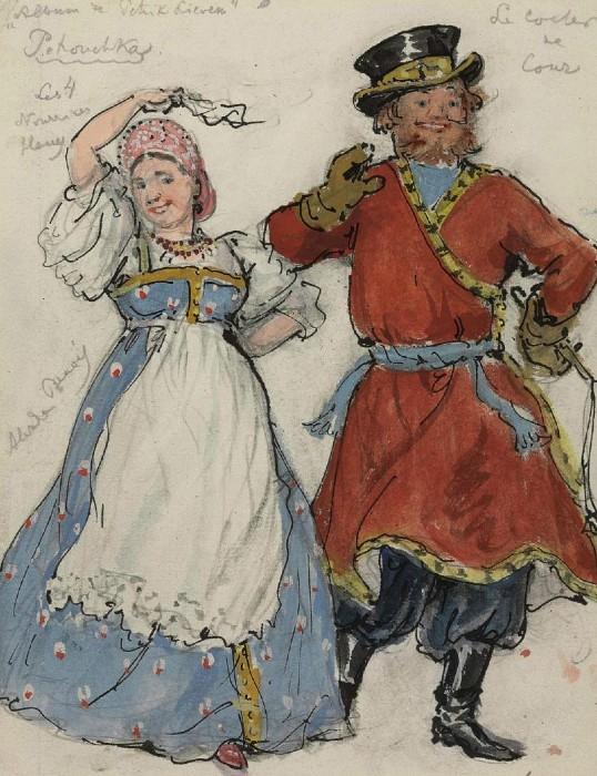Alexandre Benois - A costume designs for Petrushka - A court coachman and a nurse.JPG