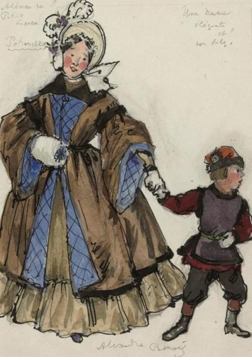 Alexandre Benois - Costume designs for Petrushka- An elegant lady and her son.JPG