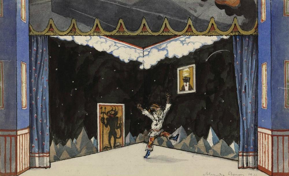 Alexandre Benois  - A set design for Petrushka- Scene II, Petrushka's room -  1911.JPG