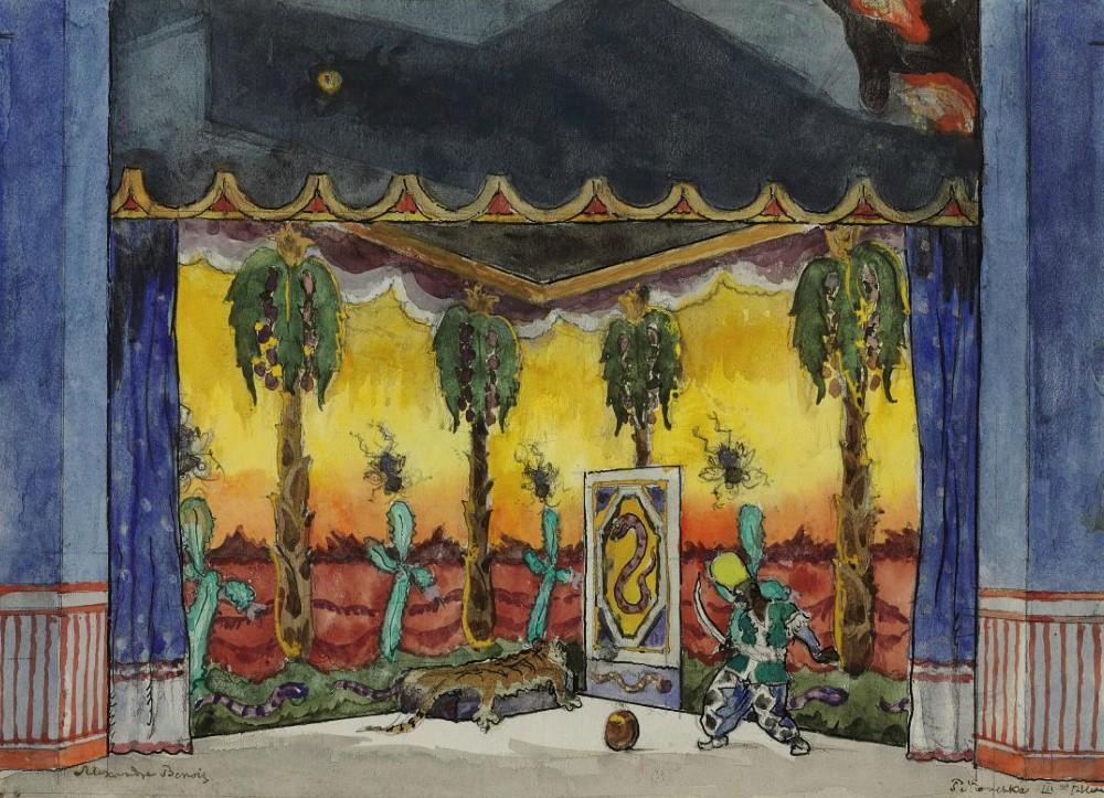 Alexandre Benois  - A set design for Petrushka- Scene III, the Moor's room.JPG