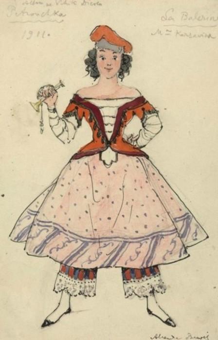 Бенуа - Эскиз костюма для балета Стравинского Петрушка - Тамара Карсавина в роди Балерины.JPG