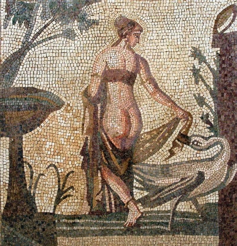 Леда и лебедь - мозаика III век до нашей эры - Святилище Афродиты - Старый Пафос.jpg