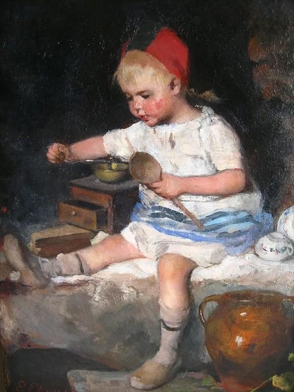 Эмма Эквалл (1838-1925) - Девочка с деревянной ложкой и кофейной мельницей - 1925.jpg