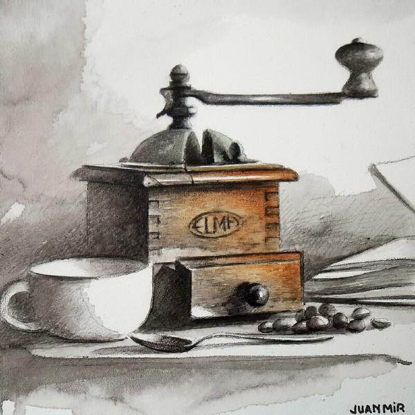 Хуан Мир (Juan Mir) - Натюрморт. Кофе и кофейная мельница.jpg