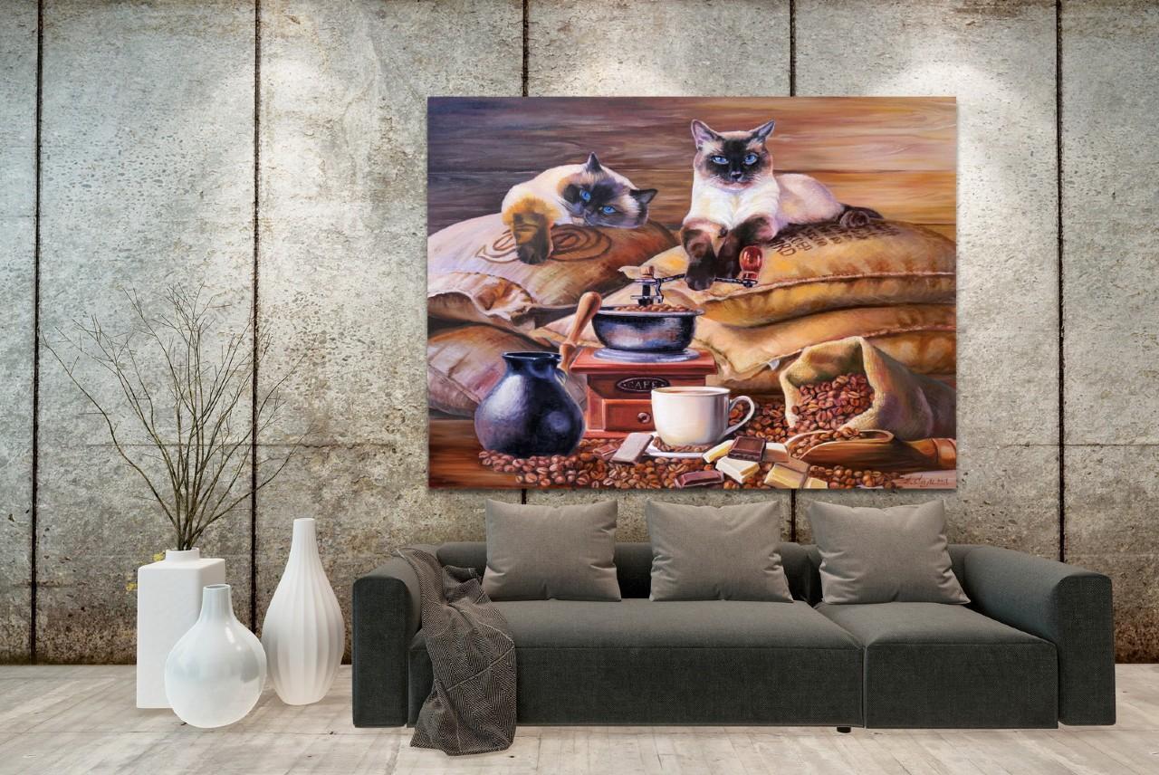 Картина Елены Самарской Хранители кофе в интерьере.jpg