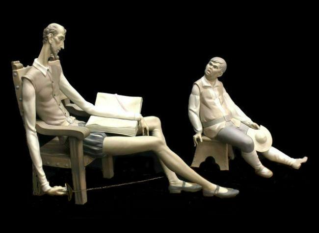 фарфоровые-статуэтки-Лядро-LLADRO-Дон-Кихот-+-Санчо-Панса-38-на-44-на-20-см-старт-650-евро