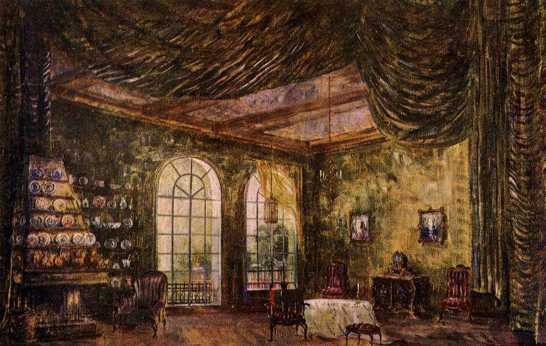 Villiams_PV-Eskiz-dekoracii-Komnata-machehi-Balet-Zolushka-GABT-1945
