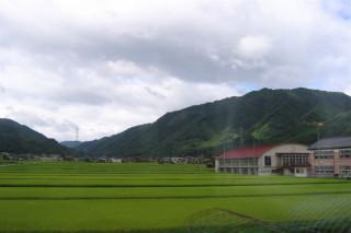 Takayama rice paddies, hills