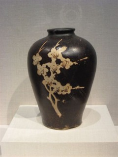 Bottle with resist decoration of flowering plum branch