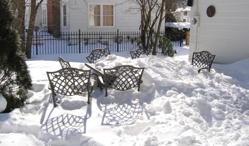 patio set in snow