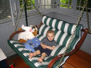 Teddy in Porch Swing with BD