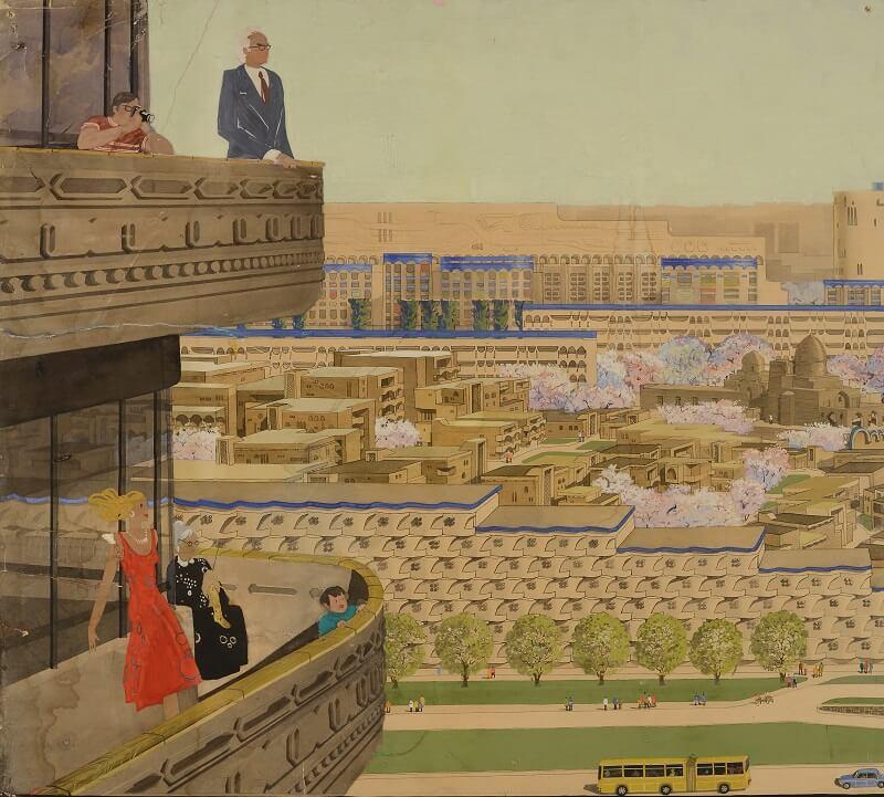 Микрорайон Калькауз (Ташкент). Архитекторы: А. Косинский, Г. Коробцев, Г. Григорянц. 1978г.