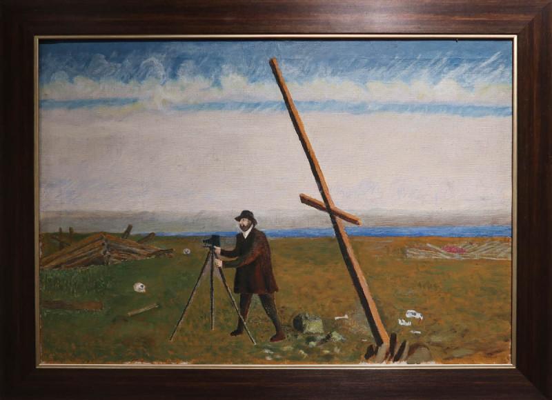 Илья (Тыко) Вылко. Русанов производит съемку местности. 1958