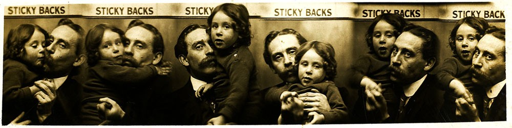 """The Brighton photographer Abraham Dudkin (1876-1949), proprietor of the Sticky Backs Studio at 54 North Street, Brighton, pictured with his son Lewis Stanley Dudkin (born 1909, Brighton) in a series of """"automatic"""" photo strips produced around 1913."""