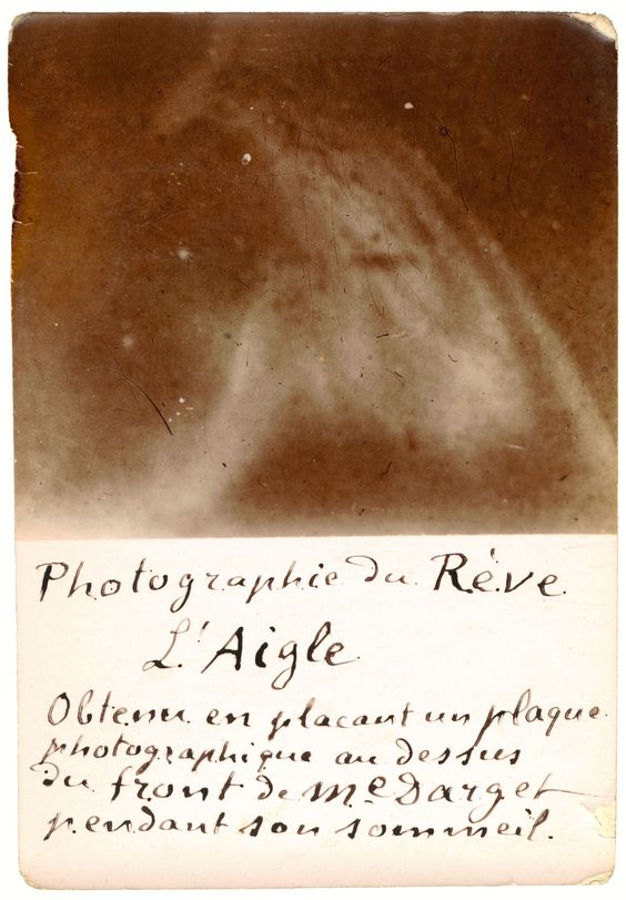 """Photograph of a Dream: The Eagle. 25 June, 1896. Inscribed: """"Obtained by placing a photographic plate above the forehead of Mme Darget while she was asleep."""""""