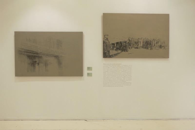Павел Отдельнов. Лозунг (слева). Демонстарция (справа)
