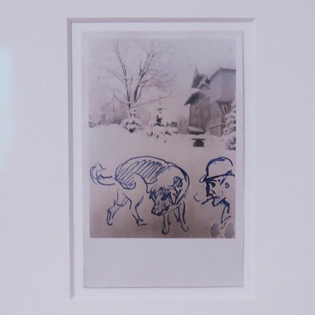 Открытка Густаву Шифлеру. Автопортрет с собакой. 1927