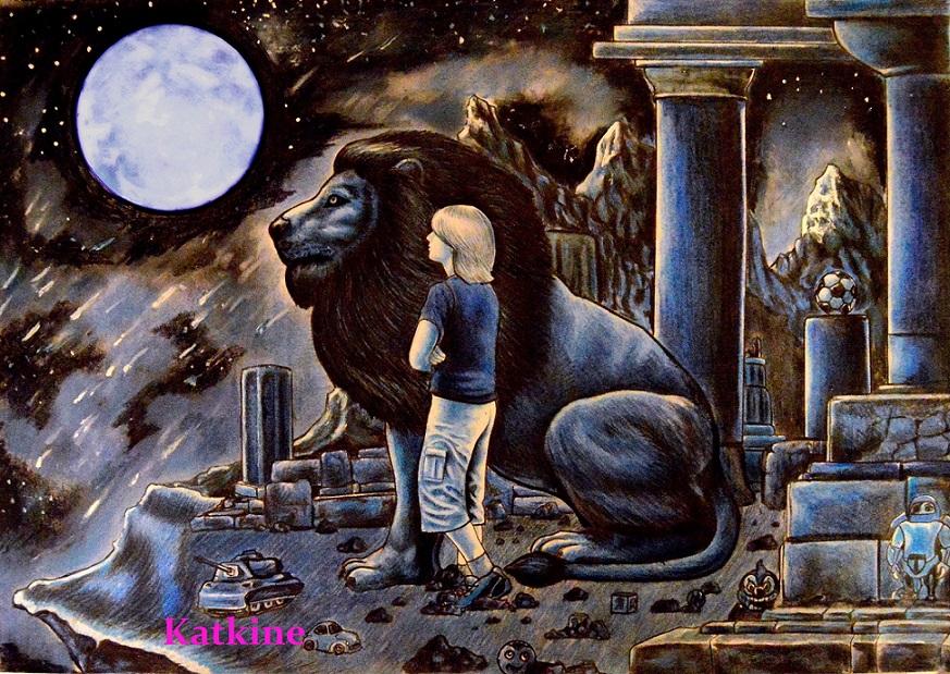 мальчик лев и луна цветные карандаши евгений каткин katkine boy leon moon