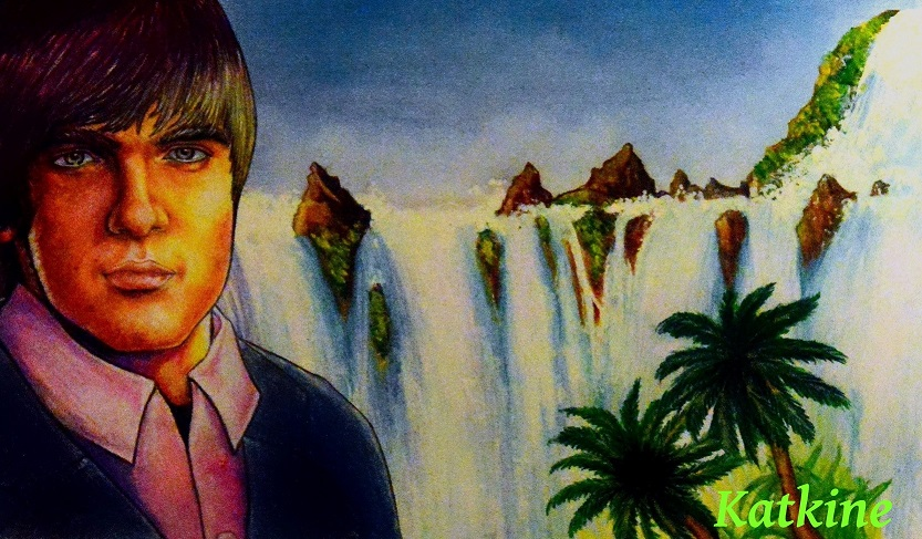 я евгений каткин парень водопад цветные карандаши katkine  waterfall — копия  Evgeny Katkin