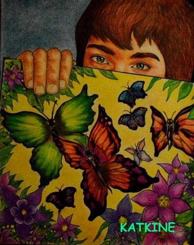 евгений каткин юнный художник бабочки butterflies  katkine