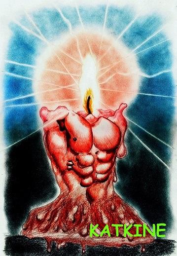 svecha-odin-iz-samyx-staryx-moix  евгений каткин katkine  цветные   карандаши Evgeny Katkin