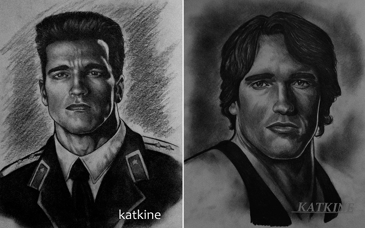 Арнольд Алоис Шварценеггер  Arnold Alois Schwarzenegger портрет простым карандашом евгений каткин katkine 83