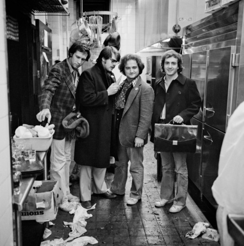 Chevy Chase, Dan Aykroyd, John Belushi, and Lorne Michaels NY 1976. By Jonathan Becker
