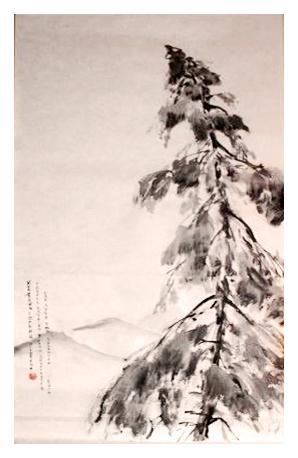 японская живопись Катерина Чёрная зимний пейзаж