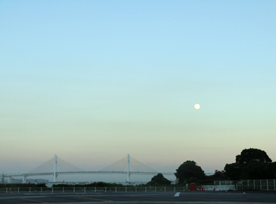 bay bridge and moon