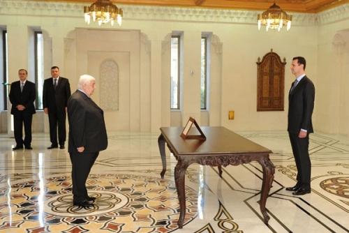 Oath before president Bashar_Asad_2012